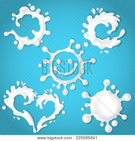 Vector Set Of Realistic Milk Or Yogurt Splashes With Drops, Abstract White Blots Of Dairy Products I