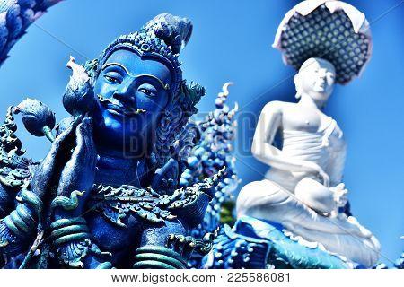 Wat Rong Seua Ten Or The Blue Temple In Chiang Rai, Thailand