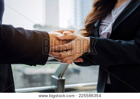 Kind And Friendly Young Business Woman Hand Reassuring And Giving Real Support For About Life Proble