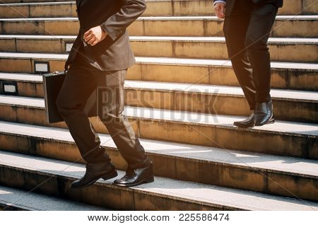 Midsection Young Handsome Business Man Holding Briefcase And Walking Fast Down Stair Going To Work T
