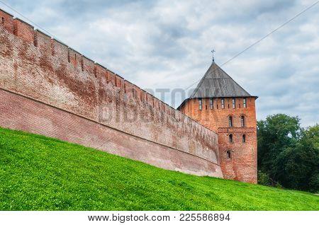 Veliky Novgorod, Russia. Vladimir Tower Of Veliky Novgorod Kremlin Fortress In Cloudy Weather