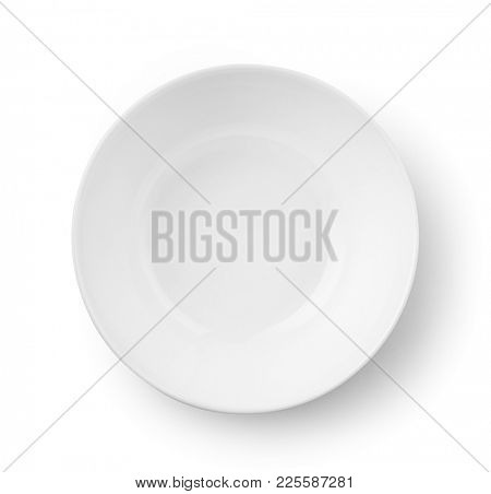 Top view of white empty bowl isolated on white