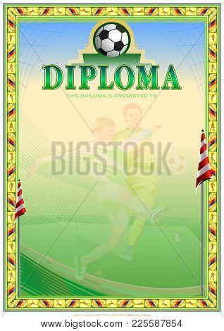 Soccer Diploma Achievement. Third Degree Blank Template. It Can Be Use As Design For Honor, Award Or