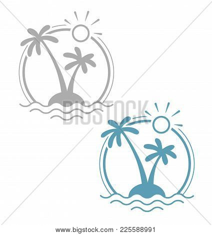 Palm At Tropical Island. Simple Summer Holiday Symbol. Isolated White Background. Eps10 Vector Illus