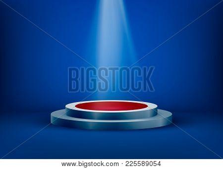 Empty Scene Is Lit By Light From A Spotlight On A Blue Background. Spotlight Shine On Pedestal. Vect