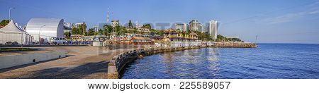 Sochi, Russia - July 18, 2015: View Of The City From The Coastline.