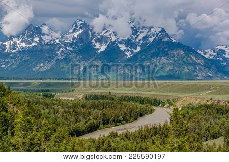Grand Teton Mountains view from Snake River Overlook. Grand Teton National Park, Wyoming, USA.