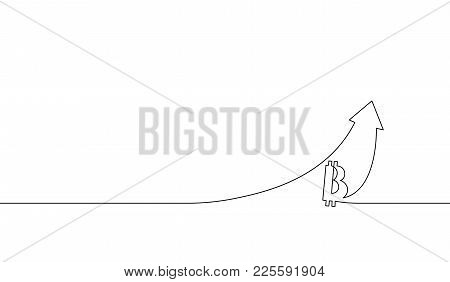 Single Continuous Line Art Bitcoin Cryptocurrency Arrow Up. Up Chart Growth Increase Profit Digital