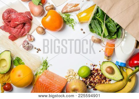 Grocery Shopping Concept. Balanced Diet Concept. Fresh Foods With Shopping Bag On White Background,