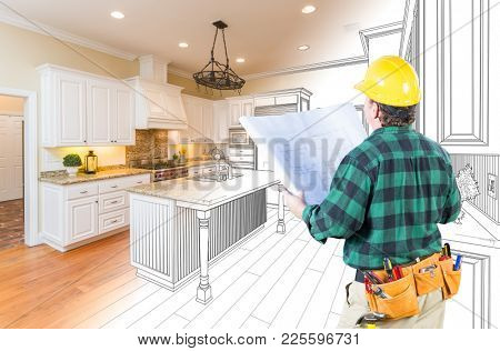 Male Contractor with Hard Hat and Plans Looking At Custom Kitchen Drawing Photo Combination On White.