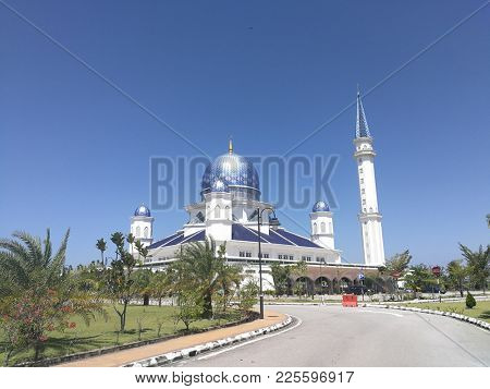 Blue dome mosque in Peneng, Malaysia