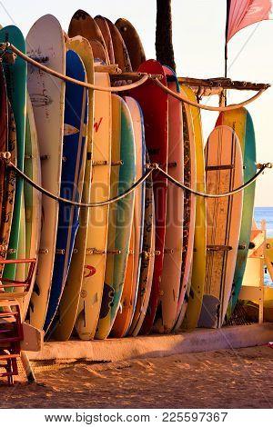 January 28, 2018 At Waikiki Beach In Honolulu, Hi:  Surf Boards For Rent Taken At Waikiki Beach, Hi