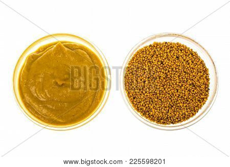 Spicy Mustard In Seeds And Sauce. Studio Photo
