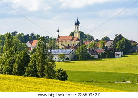 Puch, An Little Village With Church, In Bavaria, Germany.