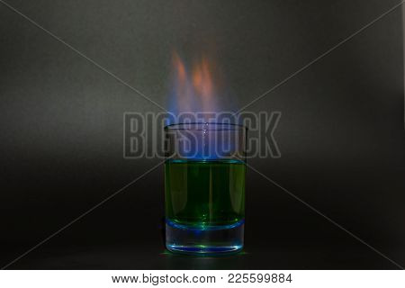 Burning Absinthe In A Glass On A Black Background 2018