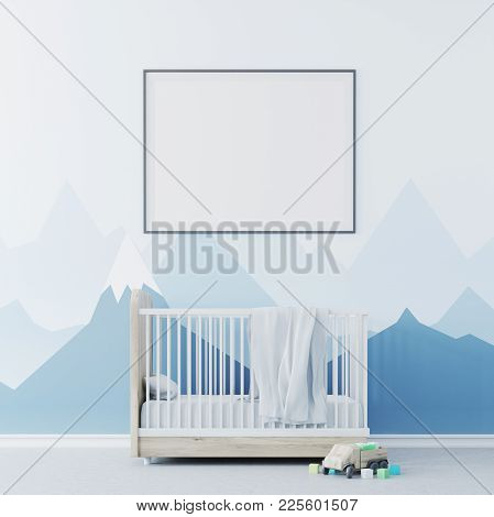Nursery Interior With Bllue Walls, A Concrete Floor, A Cradle With A Framed Poster Above It . A Toy