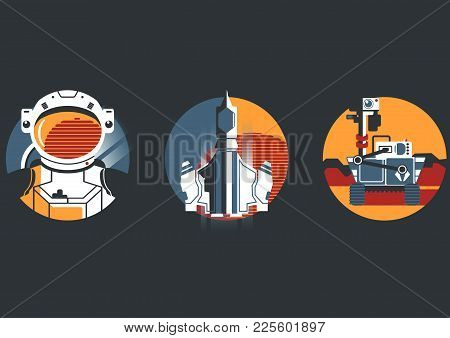 Space Icon Set In Flat Style. Astronaut, Spaceship And Mars Rover.