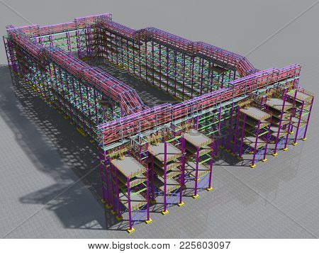 Construction Of The Overpass Of Technological Metal Structures. Architectural, Construction And Engi
