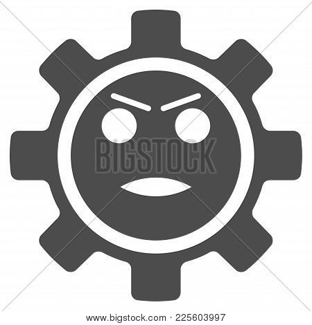 Gear Angry Smiley Vector Icon. Style Is Flat Graphic Grey Symbol.