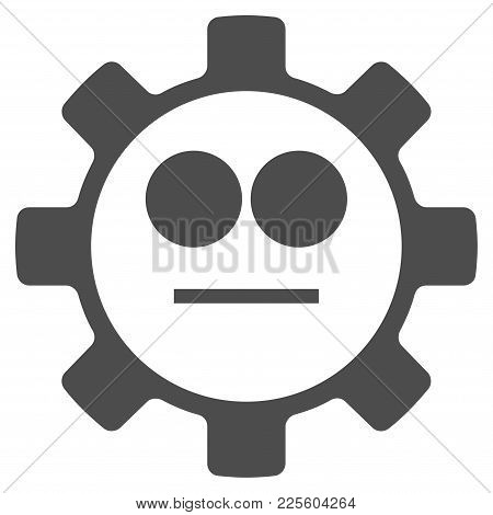 Gear Neutral Smiley Vector Pictograph. Style Is Flat Graphic Grey Symbol.