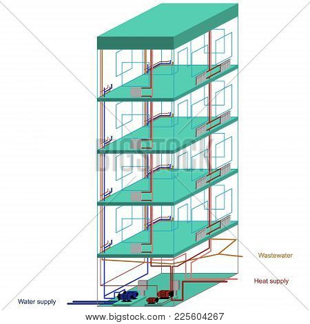 Vector Image Of A Multi-storey Residential Building With Supply And Outgoing Communications - Water