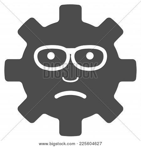 Service Gear Sad Smile Vector Icon. Style Is Flat Graphic Grey Symbol.