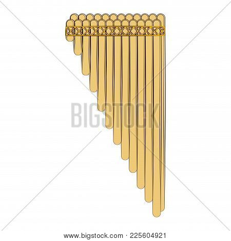 Sketch Of A Panpipe. Musical Instrument. Vector Illustration Design