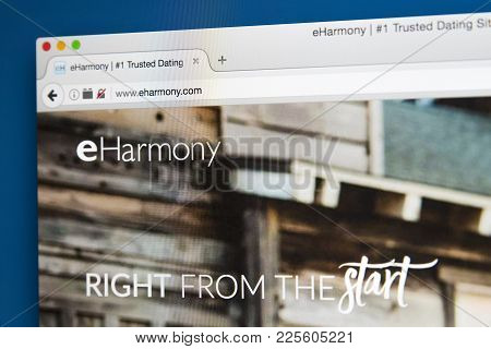London, Uk - August 7th 2017: The Homepage Of The Website For Eharmony, The Online Dating Website, O