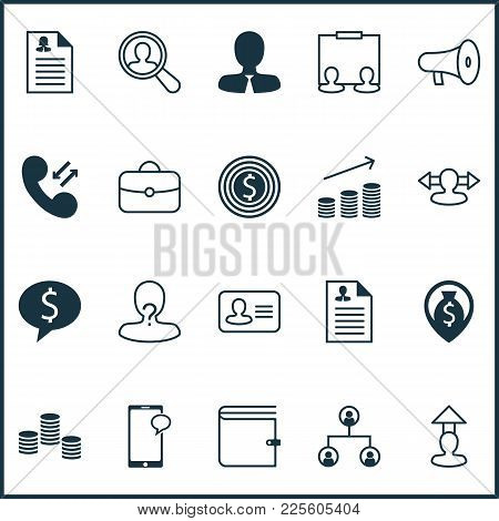 Resources Icons Set With Curriculum Vitae, Administrator, Purse And Other Find Employee Elements. Is