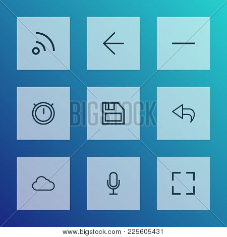 User Icons Line Style Set With Mike, Minus, Second Meter And Other Feed Elements. Isolated Vector Il