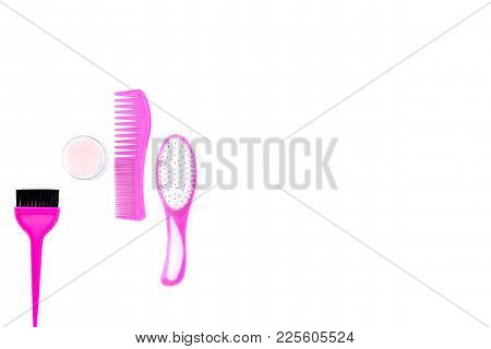 Professional Hairdressing Tools In Beauty Saloon. Combs, Brushes On White Background Top View.