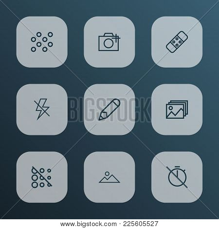 Photo Icons Line Style Set With Blur Off, Photographing, Pen And Other Flash Off Elements. Isolated