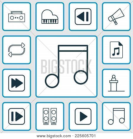 Music Icons Set With Audio File, Music, Forward Music And Other Following Music Elements. Isolated V