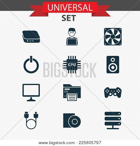 Gadget Icons Set With Server, Cpu, Gamepad And Other Power On Elements. Isolated Vector Illustration