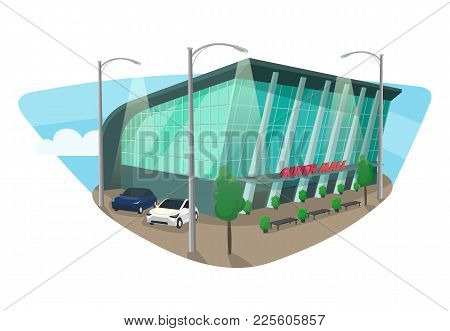 Mall Or Supermarket Isometric Building With Cars And Lantern, Trees And Bushes, Benches. Shop Or Sto