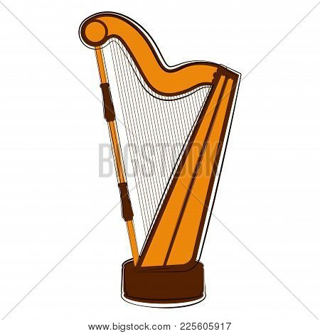 Sketch Of A Harp. Musical Instrument. Vector Illustration Design
