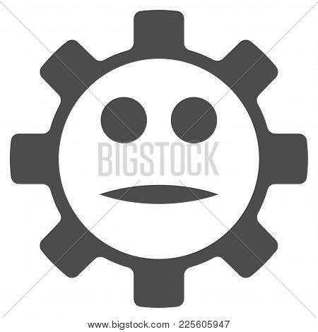 Gear Face Neutral Smiley Vector Pictogram. Style Is Flat Graphic Grey Symbol.