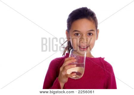 Young Girl With A Glass Of Water On White Background