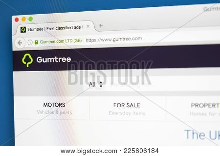 London, Uk - August 7th 2017: The Homepage Of The Website For Gumtree  - The British Online Classifi