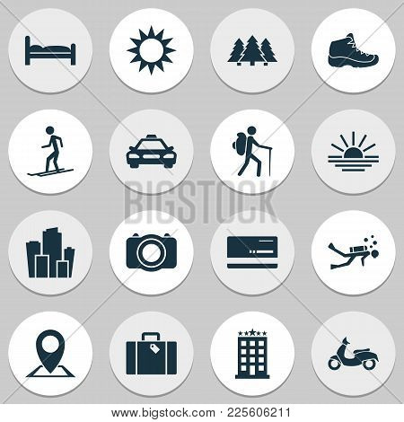 Journey Icons Set With Taxi, Hiking Boot, Diving And Other Camera Elements. Isolated Vector Illustra