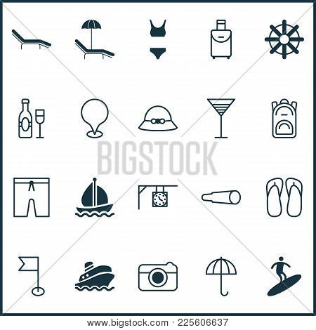 Travel Icons Set With Swim Suit, Summer Hat, Cruise And Other Swimming Clothes Elements. Isolated Ve