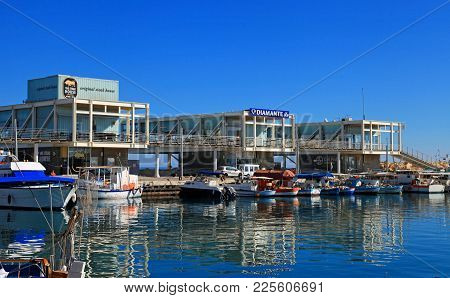 Limassol, Cyprus - January 9, 2018: View Of The Limassol Old Port With Modern Restaurants And Yachts