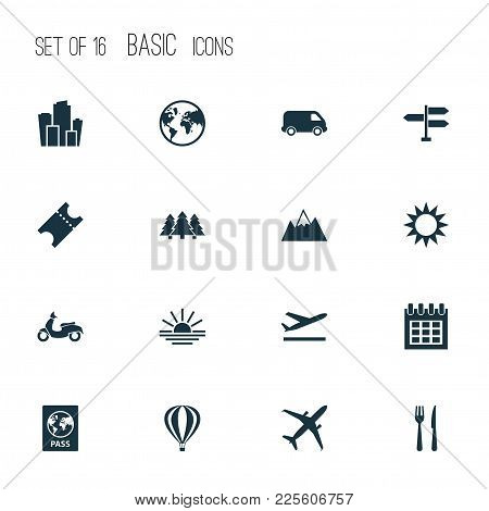 Traveling Icons Set With Ticket, City, Departure And Other Cafe Elements. Isolated Vector Illustrati