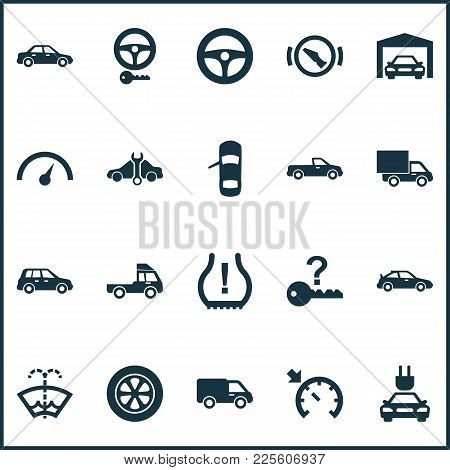 Auto Icons Set With Tie, Service, Alert And Other Repairing Elements. Isolated Vector Illustration A