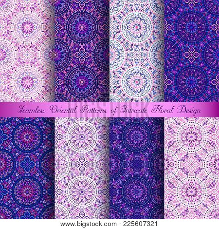 Vector Arabesque Patterns Set. Seamless Flourish Backgrounds With Abstract Flowers And Floral Elemen