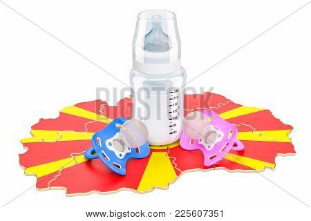 Birth Rate And Parenthood In Macedonia Concept, 3d Rendering Isolated On White Background