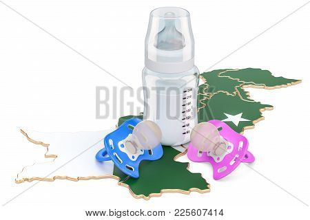Birth Rate And Parenthood In Pakistan Concept, 3d Rendering Isolated On White Background
