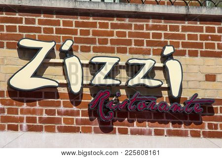 Dorchester, Uk - August 15th 2017: The Sign Above A Zizzi Italian Restaurant In Dorchester, Uk, On 1