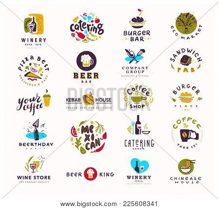 Collection Of Vector Flat Food And Alcohol Logo Set Isolated On White Background. Hand Drawn Element