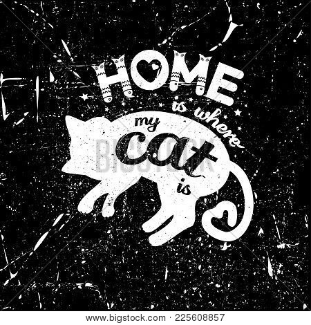Cute Kids T-shirt Print For Girls And Boys. Monochrome Vintage Cat On The Scratched Background Creat